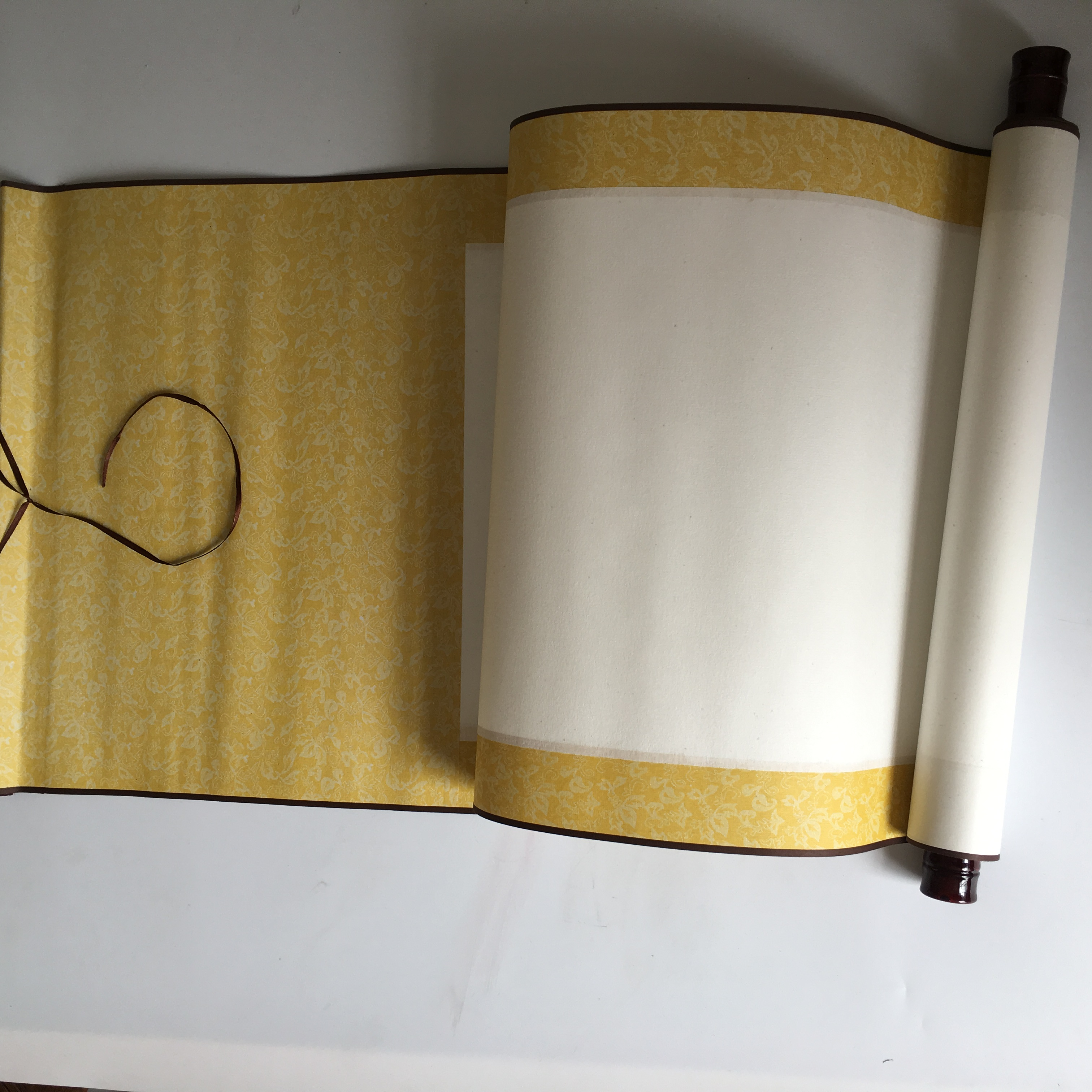 Chinese style blank colored four feet gold rice paper for ancient students to write brush characters