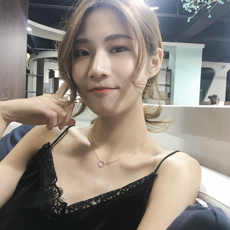 Fashionable necklace in summer, small circle with zircon inlaid, simple and exquisite, mini clavicle chain for women