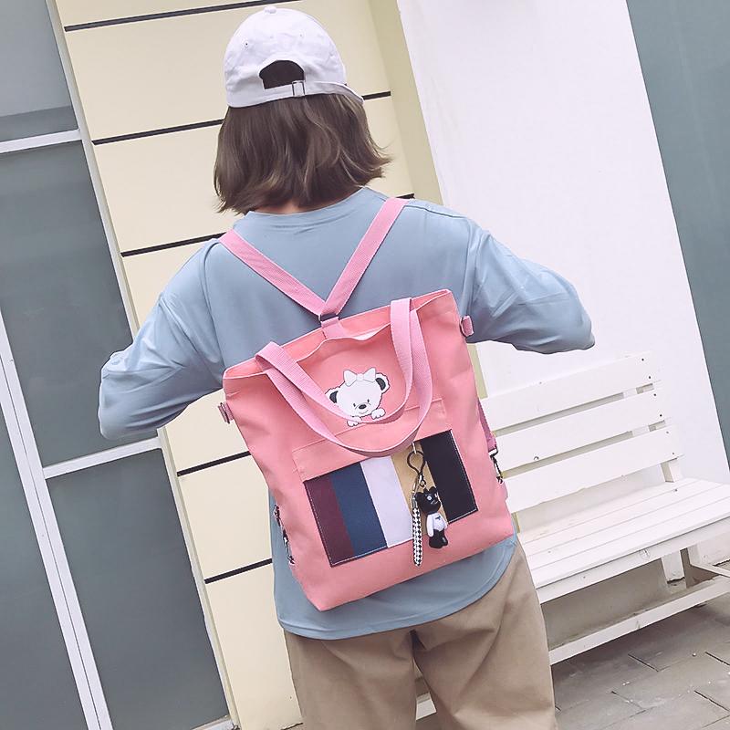 满39.00元可用21.2元优惠券帆布包袋女帆布单肩ins韩版学生帆布书包原宿ulzzang大容量购物袋
