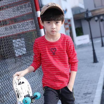3至5到8 10 14 15岁韩版儿童打底衫圆领男童装T恤 长袖上衣条纹