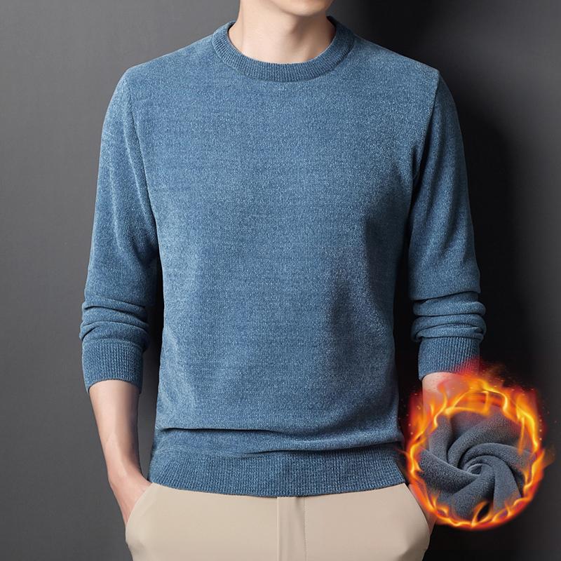 男士加绒毛衣2021冬装新款时尚潮流圆领雪尼尔保暖纯色针织套头衫
