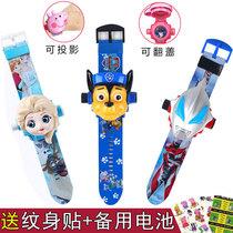网红阿奇蜘蛛侠儿童玩具手表奥特曼3D投影卡通电子表抖音同款礼物