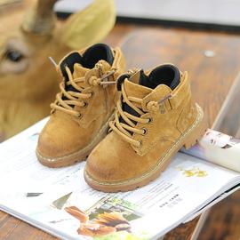 秋冬新款宝宝鞋子儿童马丁靴男女童真皮软底1-3岁中小童靴单棉靴