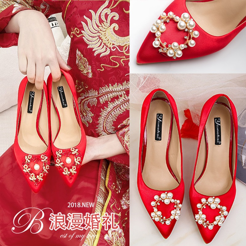 Snow Yierkang red wedding shoes womens 2019 new step on Hall bride shoes low heel high heel thick heel red shoes flat
