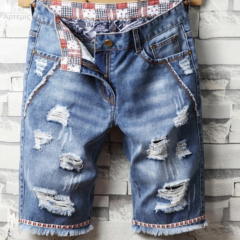 Denim shorts mens fat plus plus size hip hop summer jeans spirit boy denim shorts mens versatile men