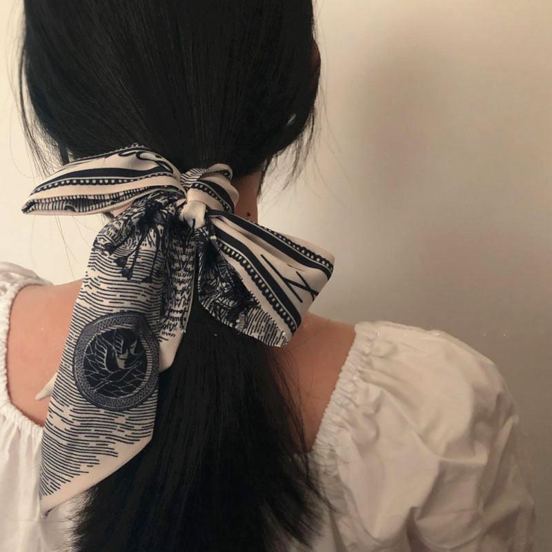 小香风ins法式时髦简约百搭款花草丝巾窄细长条复古气质绑发飘带