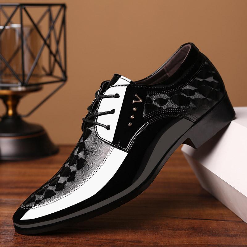 2020亮面皮鞋男士商务正装鞋子英伦系带大码秋冬季男鞋百搭婚鞋图片