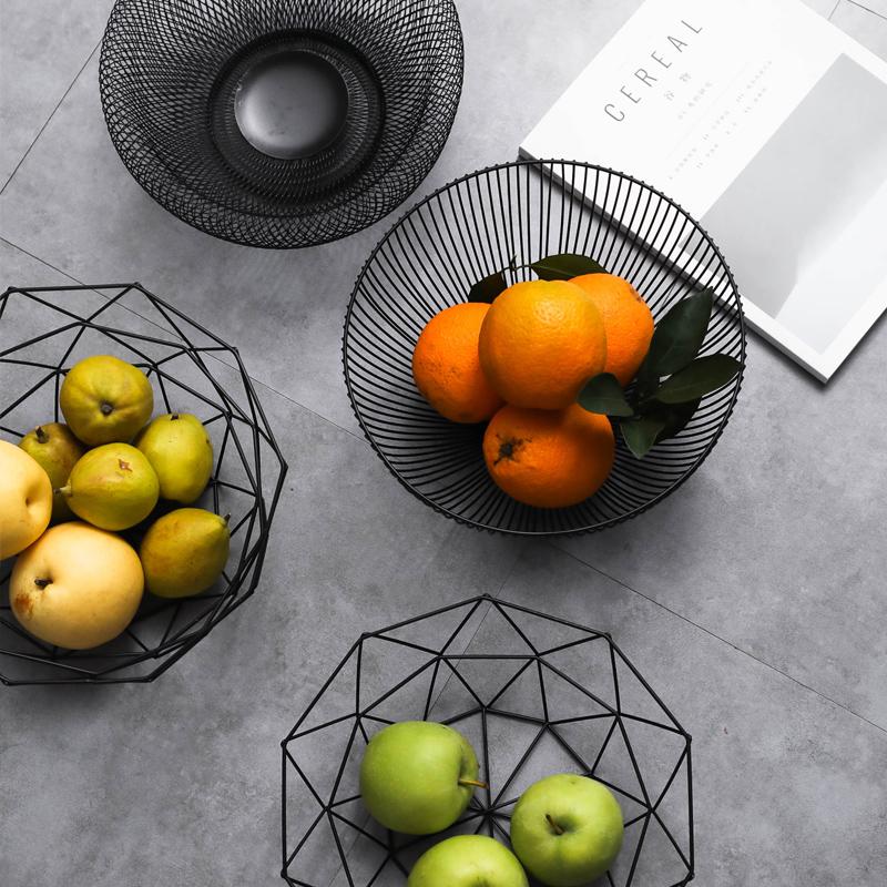 Simple modern iron fruit basket Nordic creative living room household fruit plate fruit basket fruit basin snack plate
