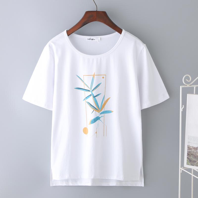 新款纯棉白色短袖t恤女印花百搭宽松韩版妈妈上衣2019夏半袖体恤
