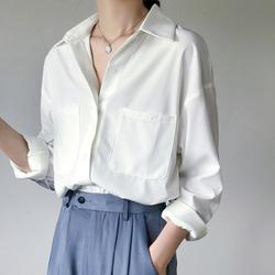 2020秋装新款长袖雪纺白色衬衫女职业宽松休闲百搭设计感小众衬衣
