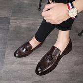 休闲小皮鞋 2021秋季 新款 韩版 英伦透气男士 流苏套脚一脚蹬发型师鞋