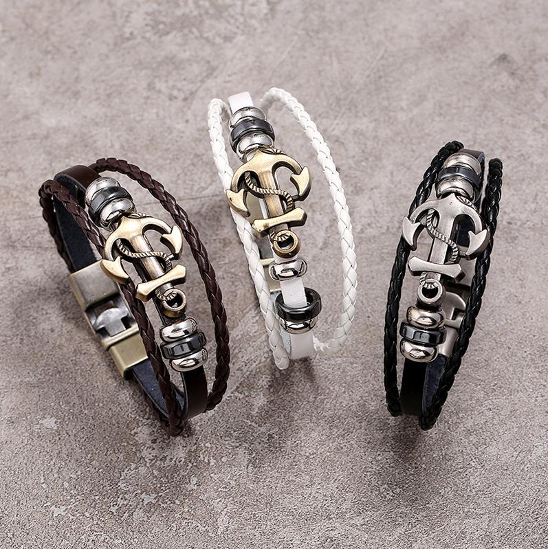 European and American accessories alloy boat anchor Leather Bracelet simple and versatile multi-layer woven leather bracelet