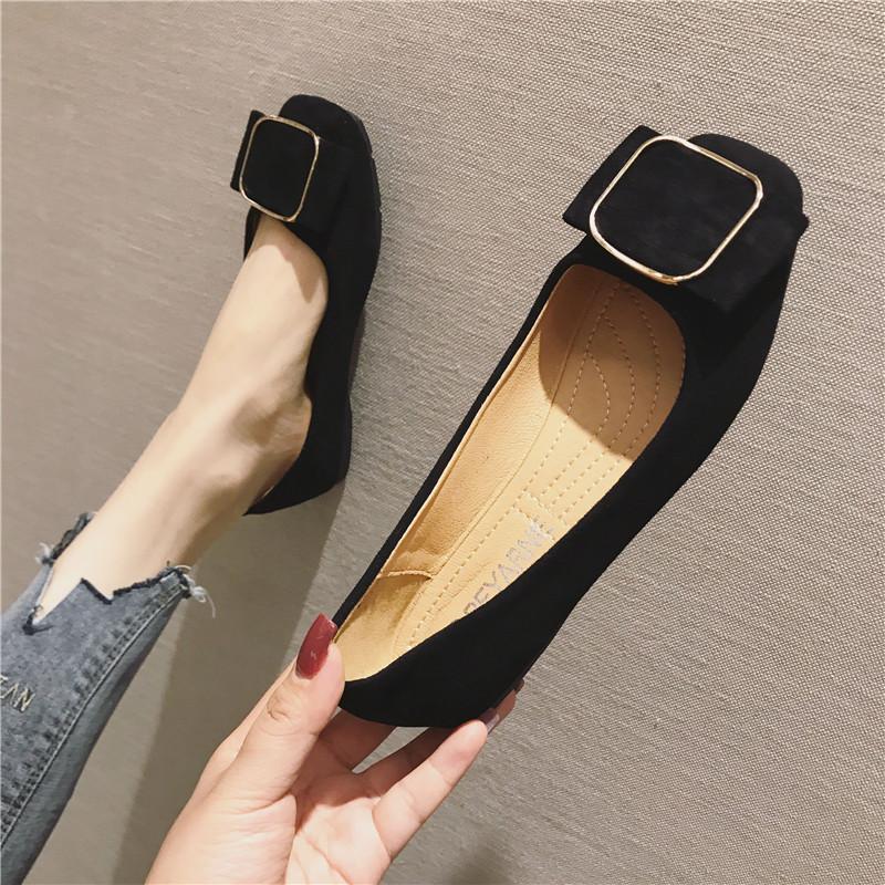 嫖鞋女夏绒面大码女鞋百搭布鞋软底方头舒适平底单鞋女瓢鞋船鞋子