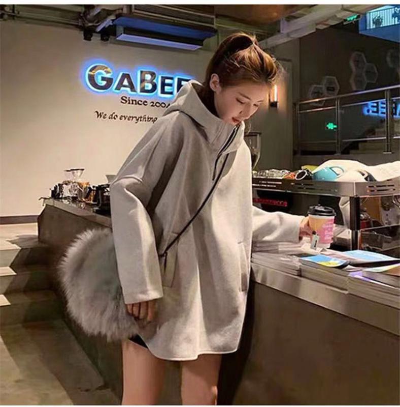 2021 large size sweater womens fat mm autumn winter loose Korean version medium length thickened coat high neck Hoodie Plush