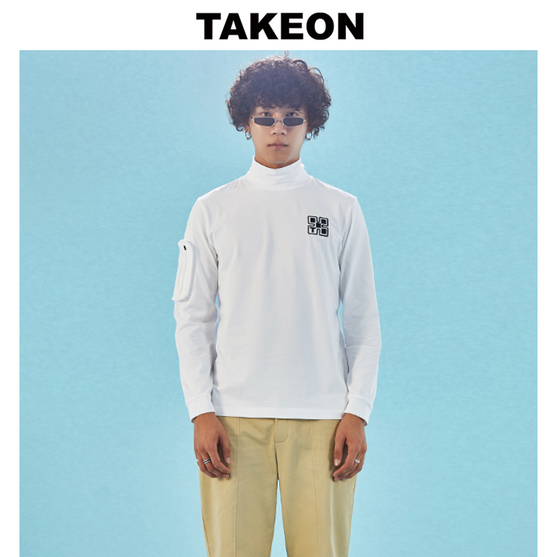 Takeon spring new high collar embroidery solid black and white Long Sleeve T-shirt for men
