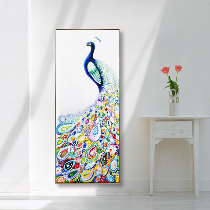 现代简约波普手绘孔雀油画