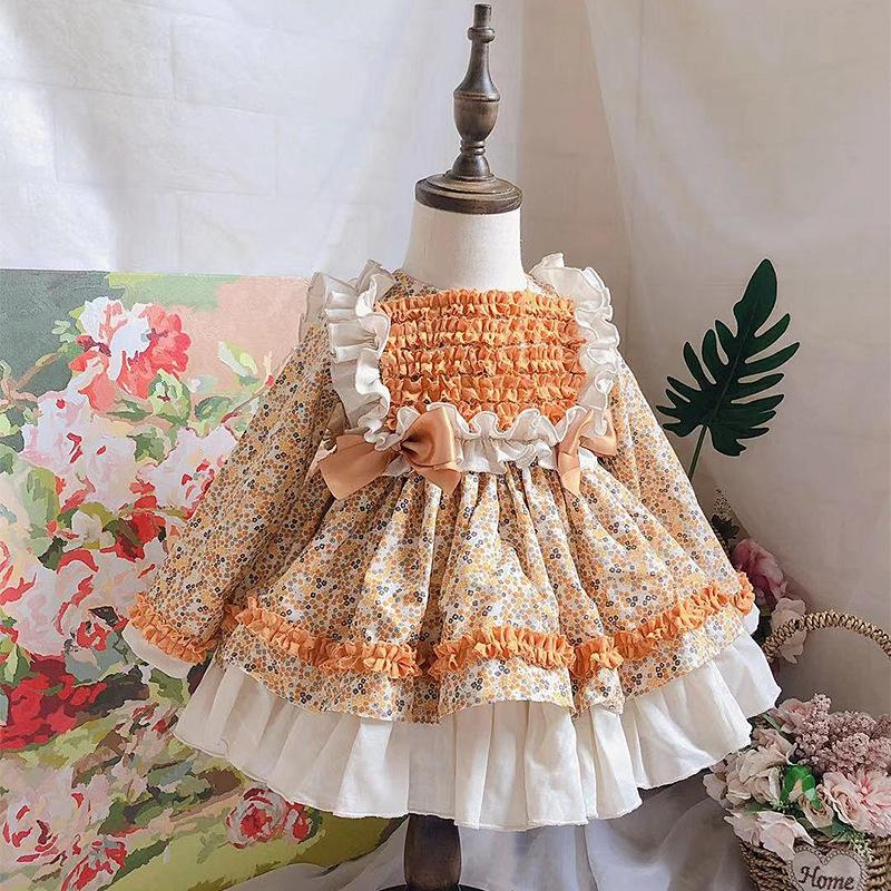 西班牙童装女童春秋碎花公主裙宝宝洛丽塔连衣裙儿童蓬蓬蛋糕裙