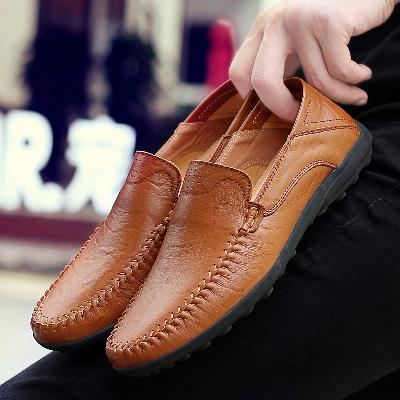 Blue hollow out simple patent leather father Oxford four seasons shoes two wear color matching Doudou shoes mens Korean version versatile personality
