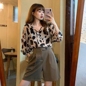 2020年夏季新款时尚气质两件套豹纹雪纺衬衫西装休闲裤洋气套装女
