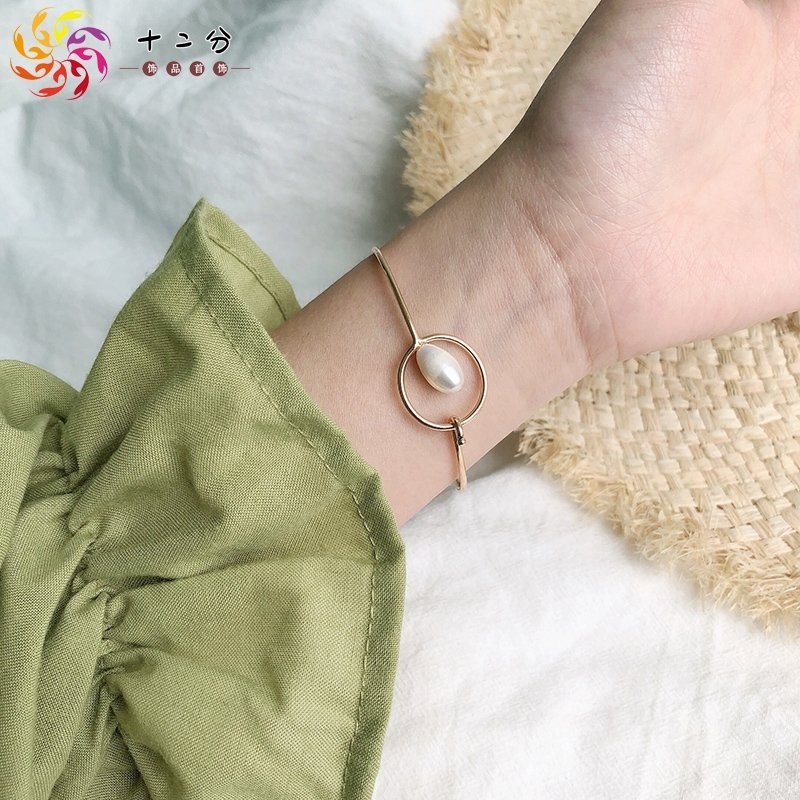 Small group design special-shaped pearl net red girl opening cold wind Bracelet Korean version personality simple bracelet Jewelry