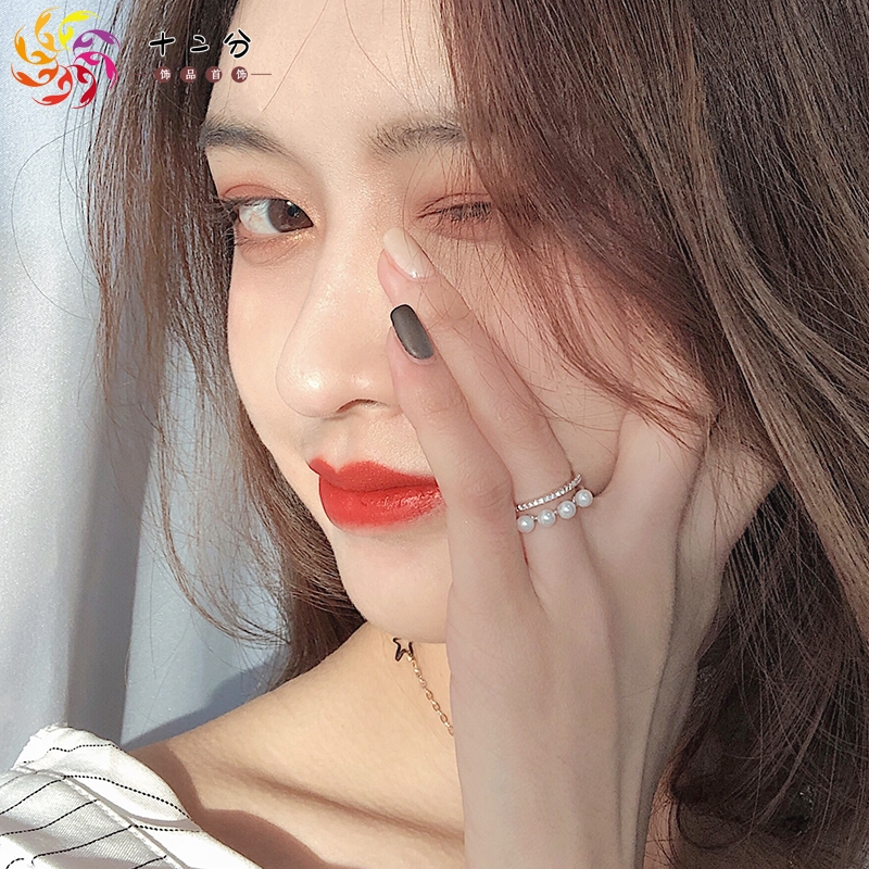 Fashion Net red personality small crowd design ring female Japanese Light luxury girl cold wind opening Pearl index ring