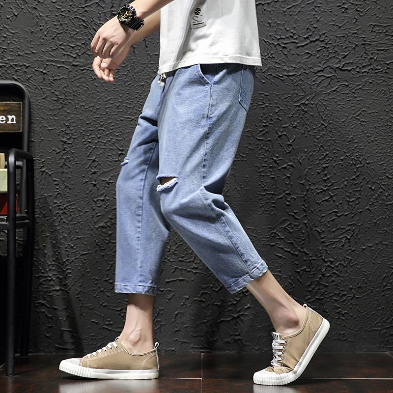 夏新潮流青春活力男式加大码乞丐懒人破洞学院帅气七分八分牛仔裤