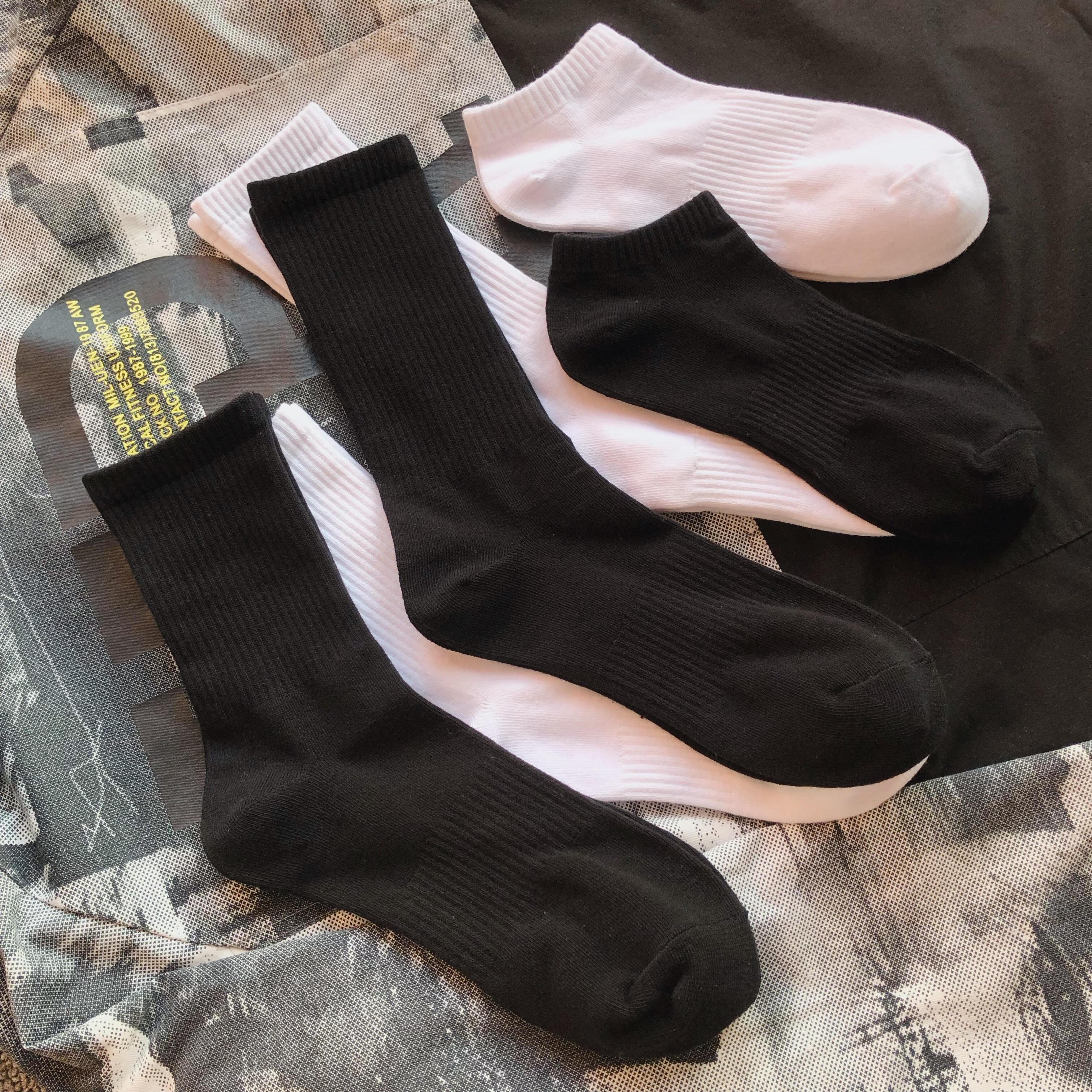 3双组合薄款男士纯色黑白运动纯棉袜子高中低筒长短袜韩版
