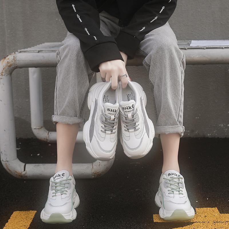 【5Gshop女鞋】2020春季新款真皮防滑旅游休闲鞋撞色老爹鞋