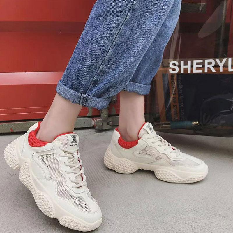 【5Gshop女鞋】2019新款真皮低帮平跟时尚舒适撞色休闲运动鞋