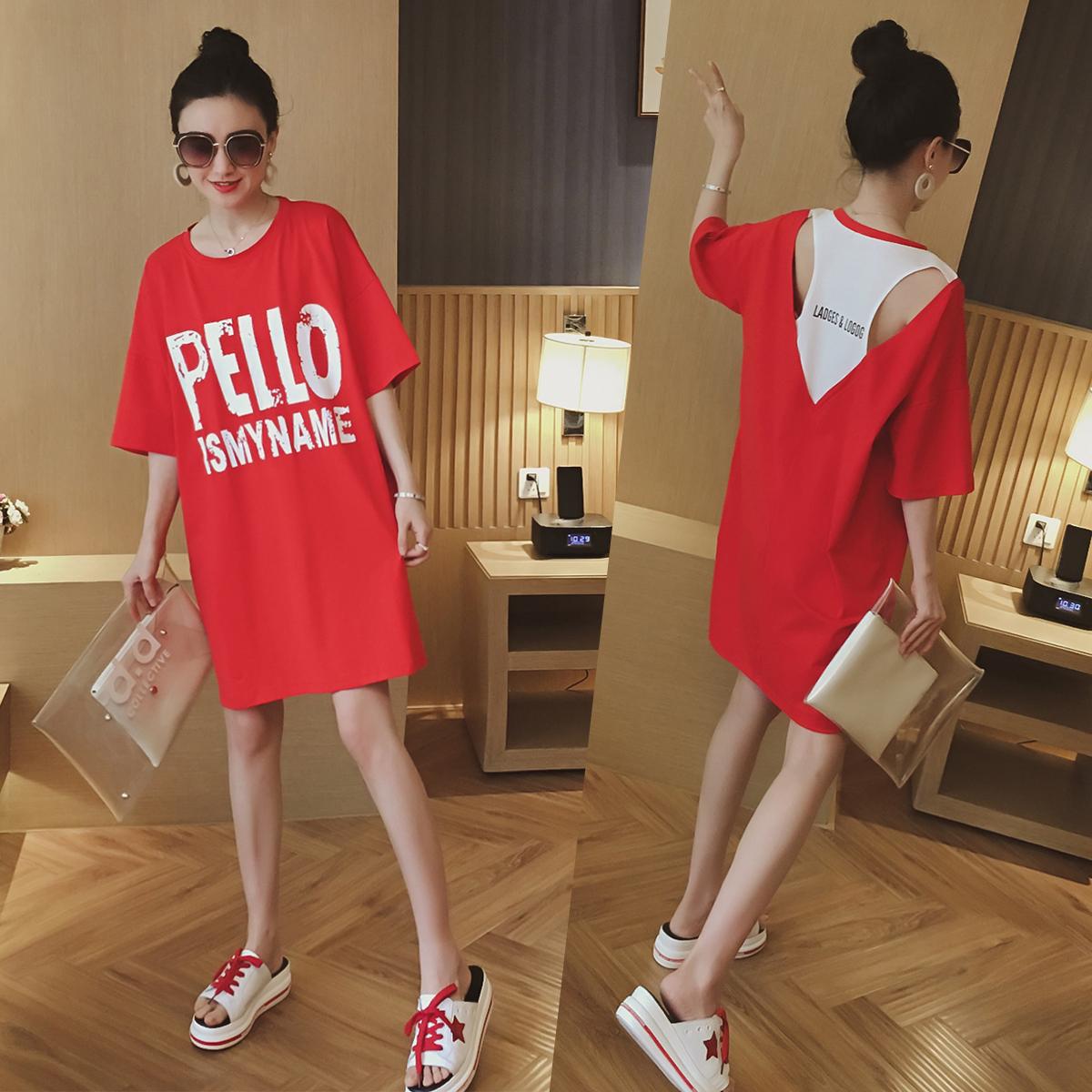 短袖女夏季新款韩版宽松中长款t恤字母红色上衣休闲假两件女装