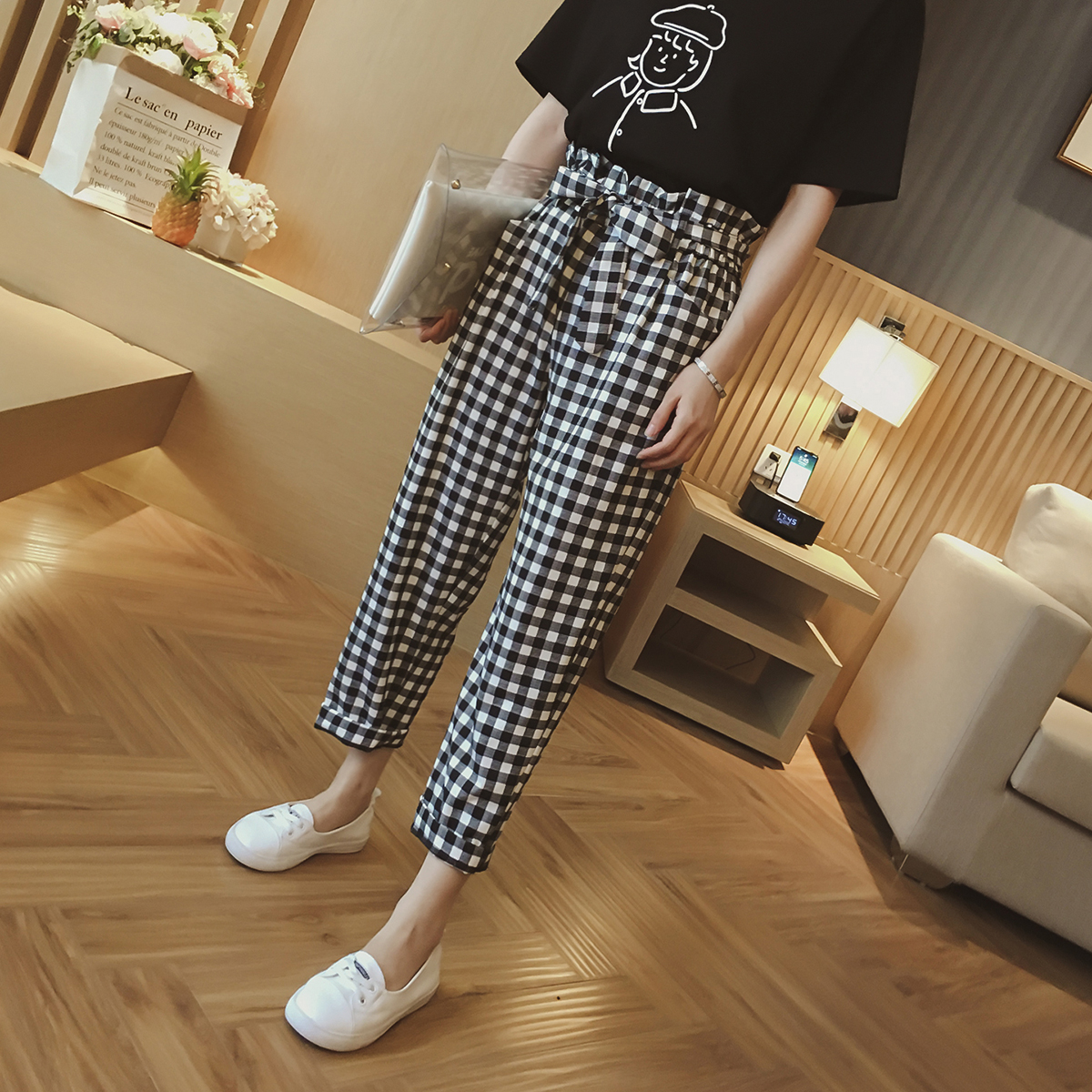 格子裤女夏装新款韩版高腰bf休闲裤子宽松九分直筒长裤显瘦百搭潮
