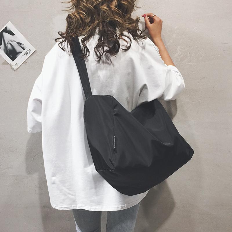 古着感包包女2019新款潮韩版百搭单肩大包休闲简约尼龙布袋斜挎包