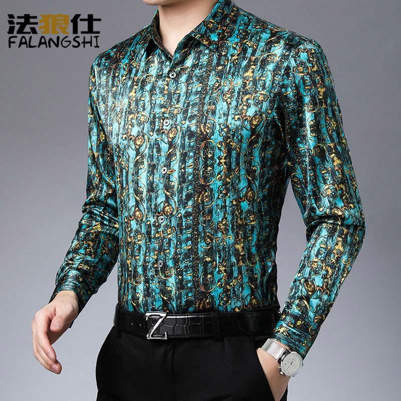 爸爸春装上衣中年男士真丝衬衣高档丝绸衬衫高级感桑蚕丝寸衫长袖