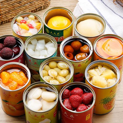 新鮮水果罐頭6罐混合整箱午后黃桃罐頭菠蘿草莓橘子什錦楊梅梨子