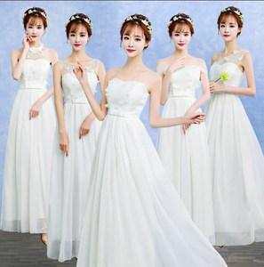 礼服女2018新款伴娘服长款演出礼仪年会毕业姐妹裙结婚白色晚礼服