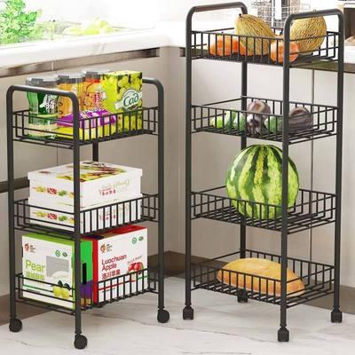 厨房置物架落地多层小推车家用移动零食架卫生间卧室储物收纳架子