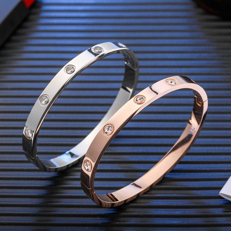 Korean fashion temperament titanium steel rose gold lovers Bracelet eternal ring