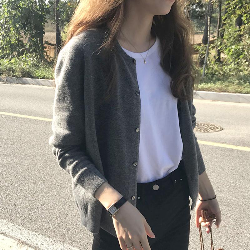 针织衫春款开衫春季2021年新款女装黑色春装上衣春秋薄款毛衣外套