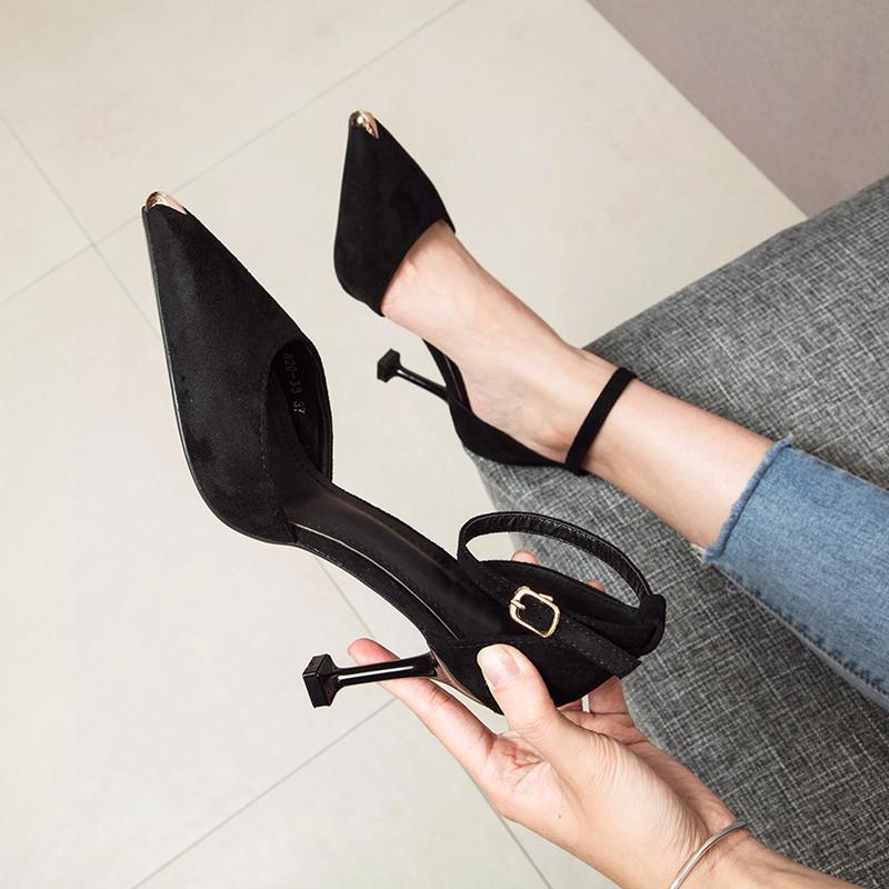 一字扣高跟鞋女2020春季新款百搭法式少女細跟鞋子床上性感單鞋女