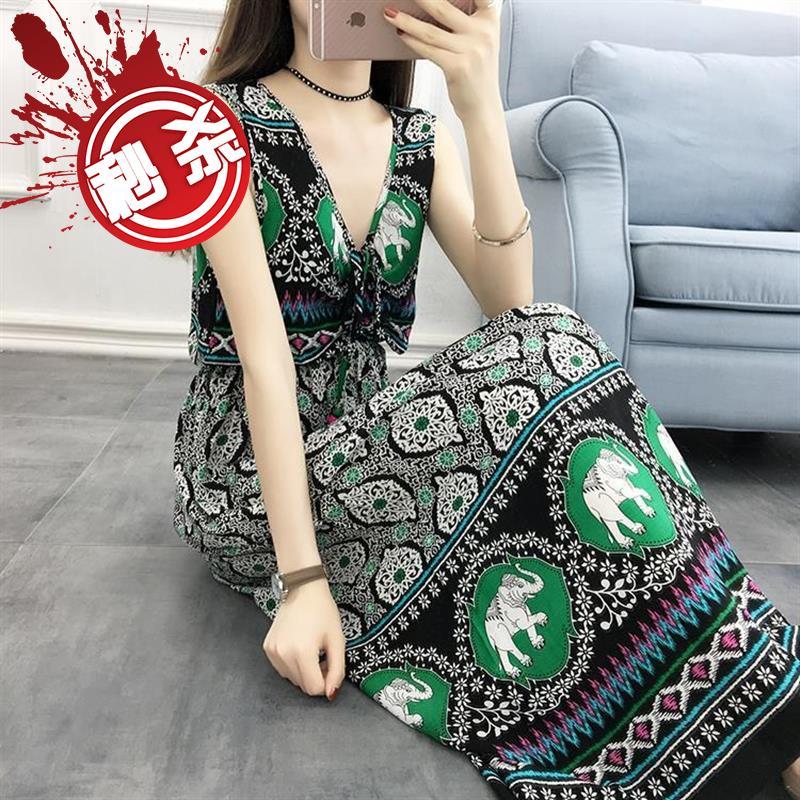 53.94元包邮年轻女夏2018民族风新款l款连衣裙