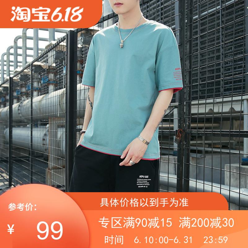 男士运动休闲套装2020短袖套装夏季男式韩版宽松圆领T恤五分短裤