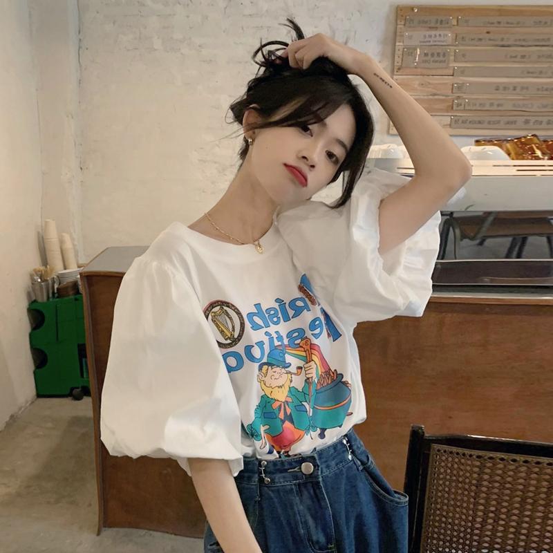 白色短袖t恤女装夏季2021新款宽松韩风chic泡泡袖上衣设计感小众