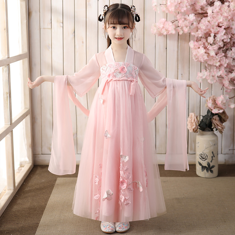 Little girl's super fairy Hanfu ruskirt girl's ancient dress children's ancient style children's Tang suit Chinese summer suit