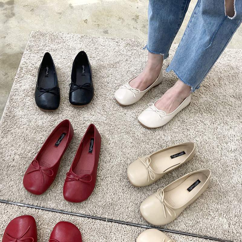 Korean version big head shallow mouth flat shoes childrens new bow and round head cute ballet single shoes in 2020