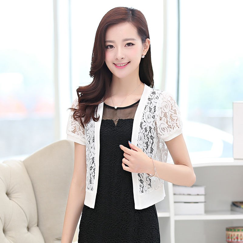 Small shawl cardigan short womens 2020 summer lace large hollow air conditioning versatile thin coat new small shirt trend