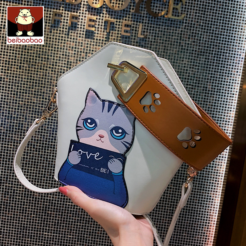 Shangxin small bag 2020 new fashion personality fashion One Shoulder Messenger Bag foreign girl cat pattern Handbag