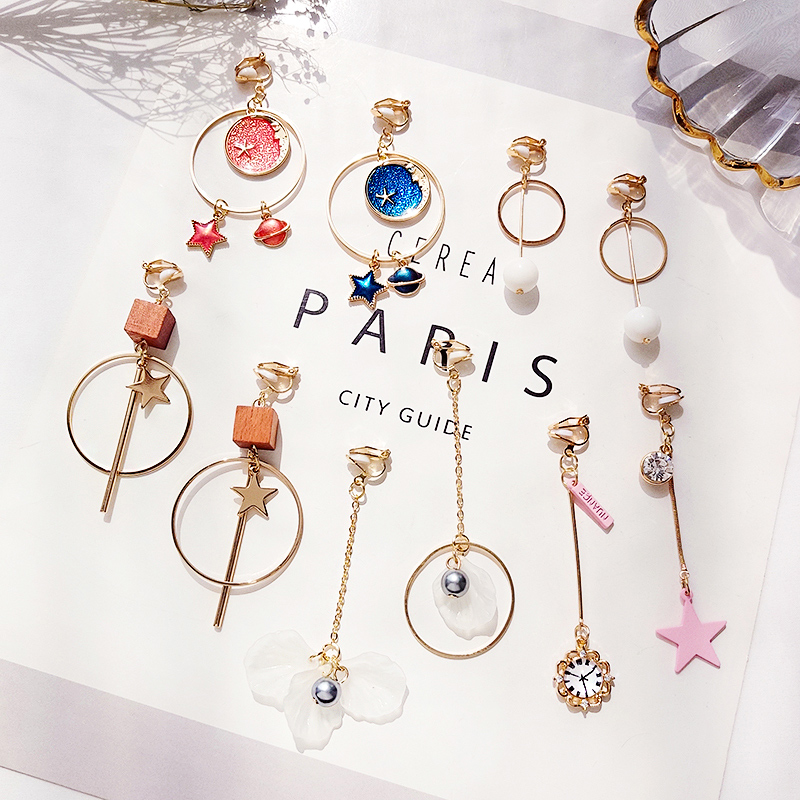 Korean Earrings faner summer fresh 2019 new fashion temperament student female simple and versatile clip earhole no suit