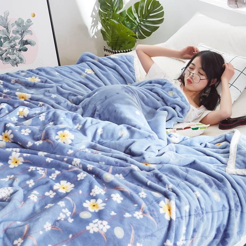 丝绒被轻薄绒面品质短绒绒被单薄毛毯床单双人薄款加厚被子冬季午