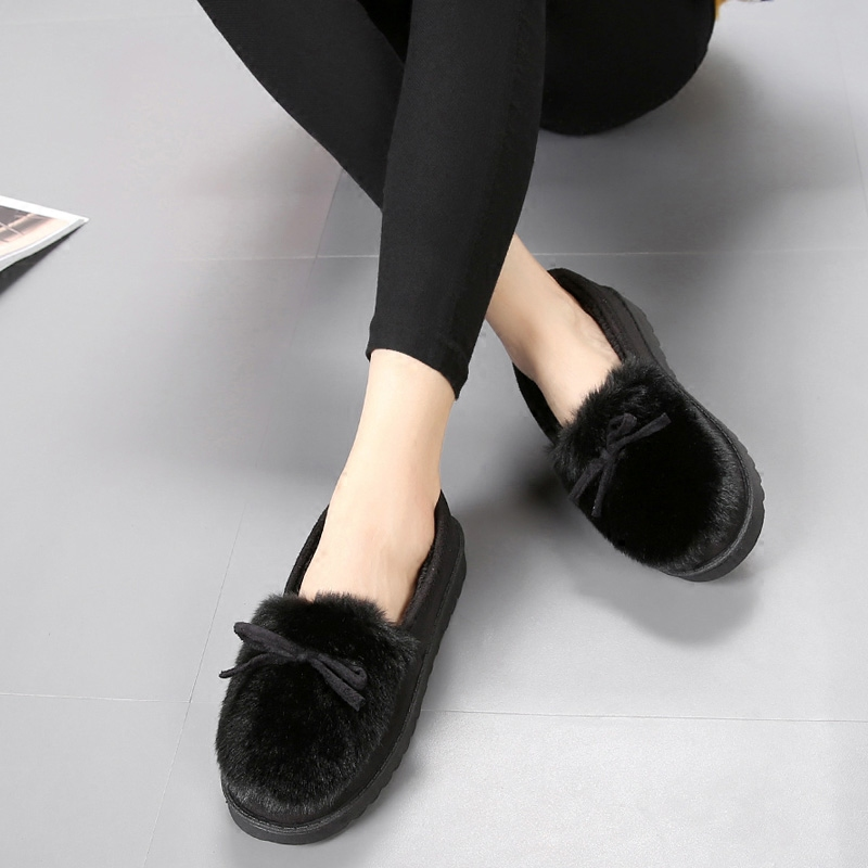 Hong Kong Style winter elegant air permeable cotton shoes thick bottom Plush home shoes short plush office square mouth spring and autumn slippers