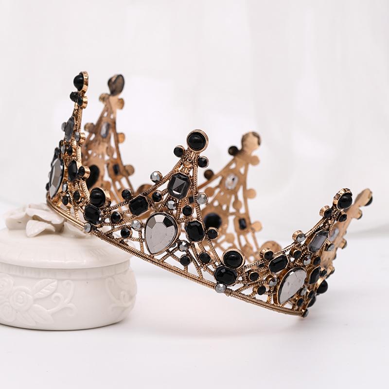 皇冠新娘结婚森系皇冠头饰女神生日王冠配饰圆冠仙女成年十八岁黑